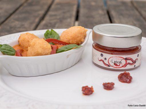 Quenelles di lenticchie rosse in guazzetto di peperoni con Epica Red