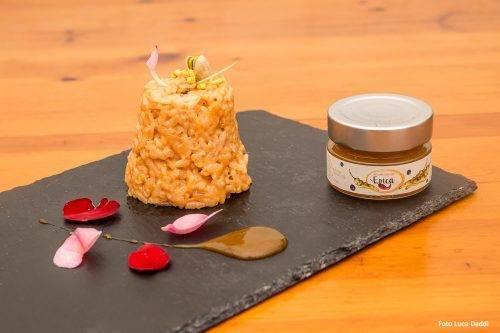 Timballo di riso alle rose e pistacchi con Epica Gold